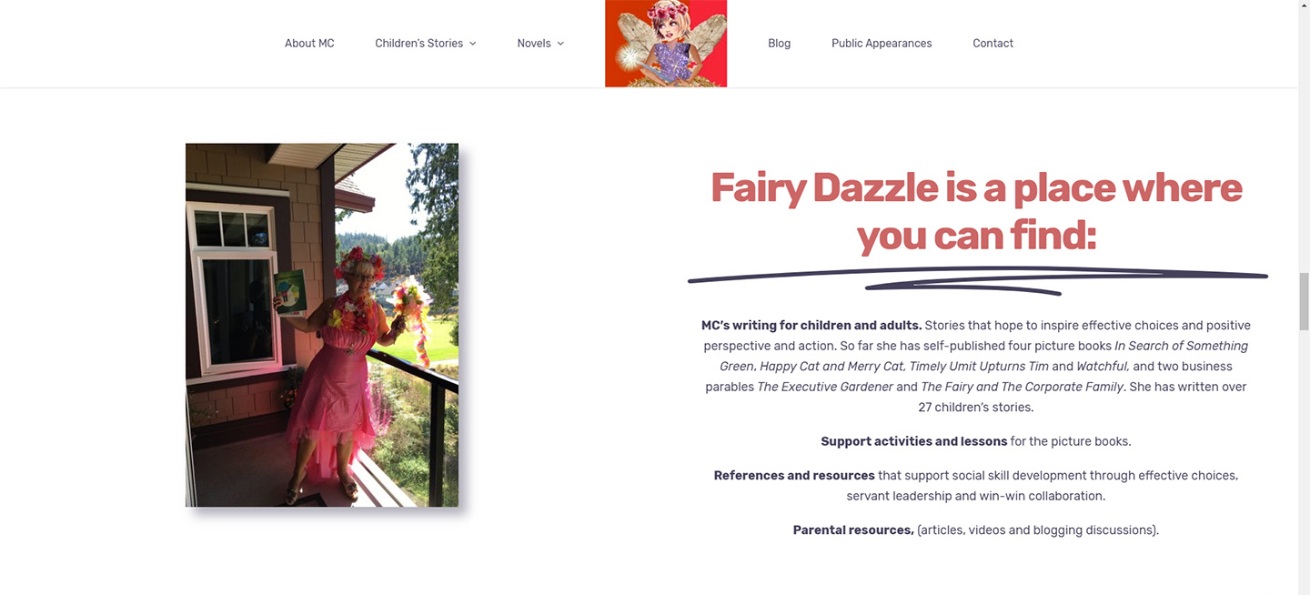 A screenshot of the homepage of MC Rolston's website for her children's stories.