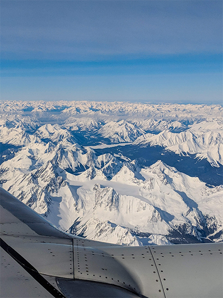 a look at the Rocky Mountains around Kananaskis from a plane window.