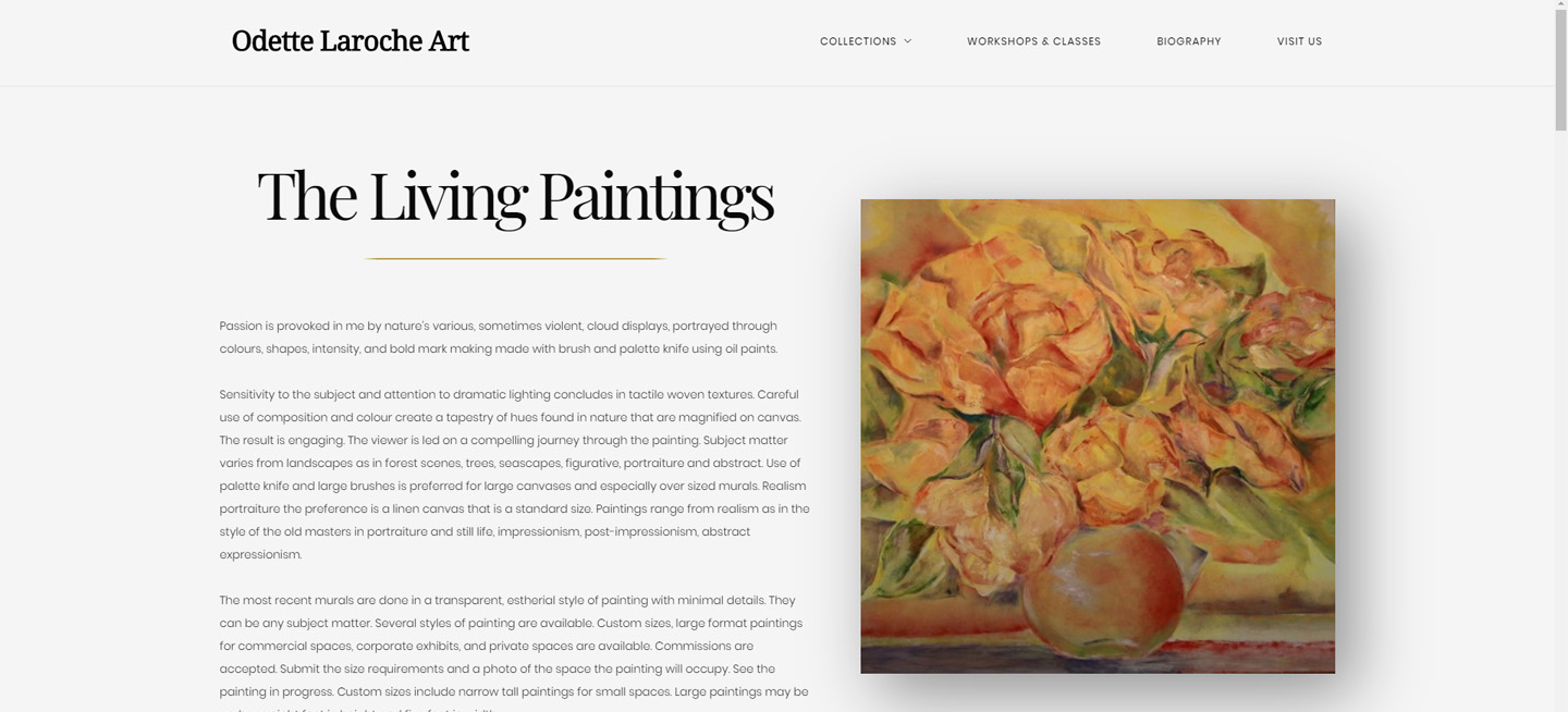 A screenshot of the homepage of Odette Laroche's website for her art gallery.