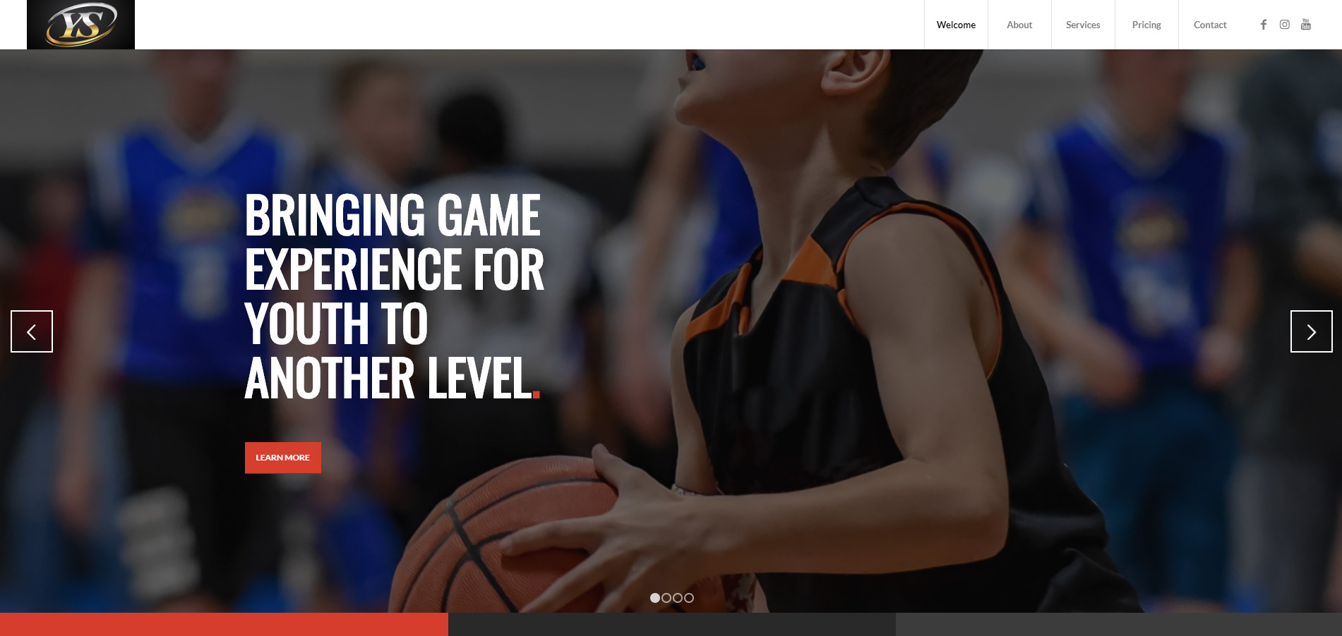 A screenshot of the homepage of the Youth Sports Production website.